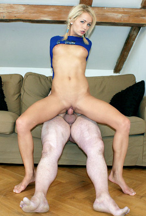 Blue eyed blonde cutie fucks with old..