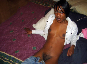 African girl emigrant undressing and..